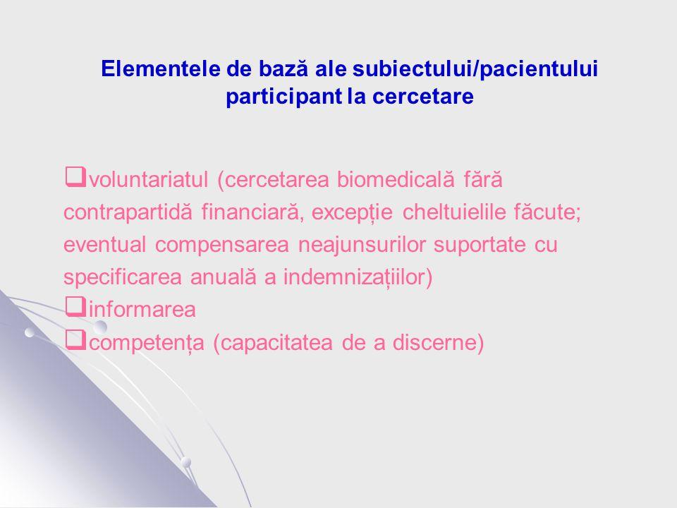 Elementele de bază ale subiectului/pacientului participant la cercetare  voluntariatul (cercetarea biomedicală fără contrapartidă financiară, excepţie cheltuielile făcute; eventual compensarea neajunsurilor suportate cu specificarea anuală a indemnizaţiilor)  informarea  competenţa (capacitatea de a discerne)