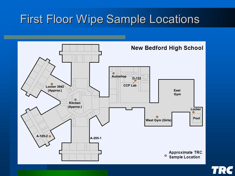 First Floor Wipe Sample Locations New Bedford High School Approximate TRC Sample Location