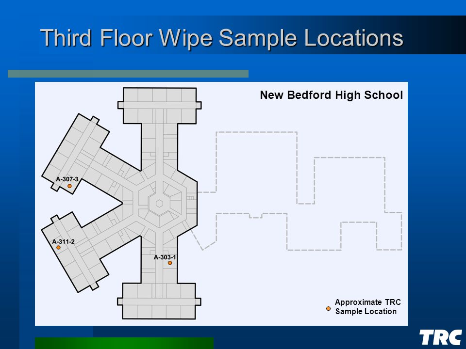 Third Floor Wipe Sample Locations New Bedford High School Approximate TRC Sample Location