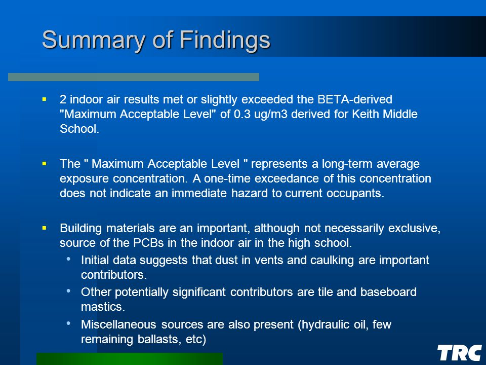 Summary of Findings  2 indoor air results met or slightly exceeded the BETA-derived Maximum Acceptable Level of 0.3 ug/m3 derived for Keith Middle School.