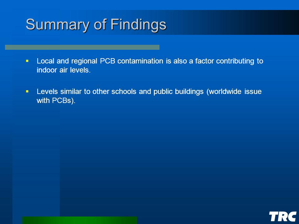 Summary of Findings  Local and regional PCB contamination is also a factor contributing to indoor air levels.