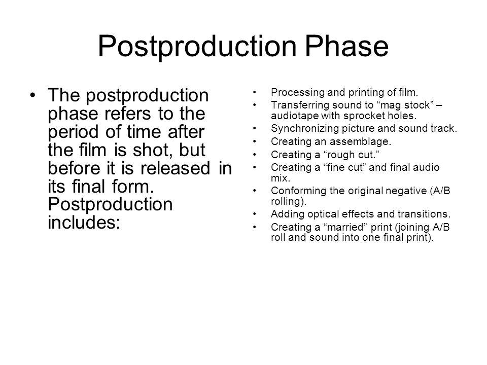 Postproduction Phase Processing, Printing, and Transferring.