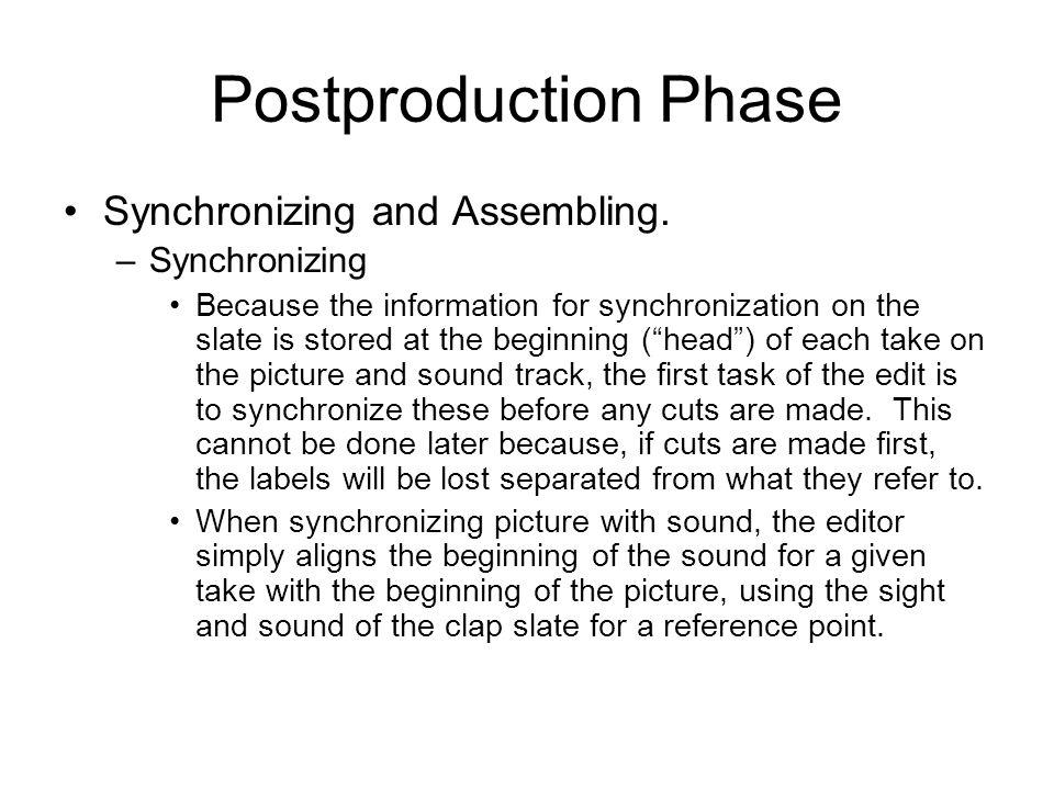 Postproduction Phase Synchronizing and Assembling.