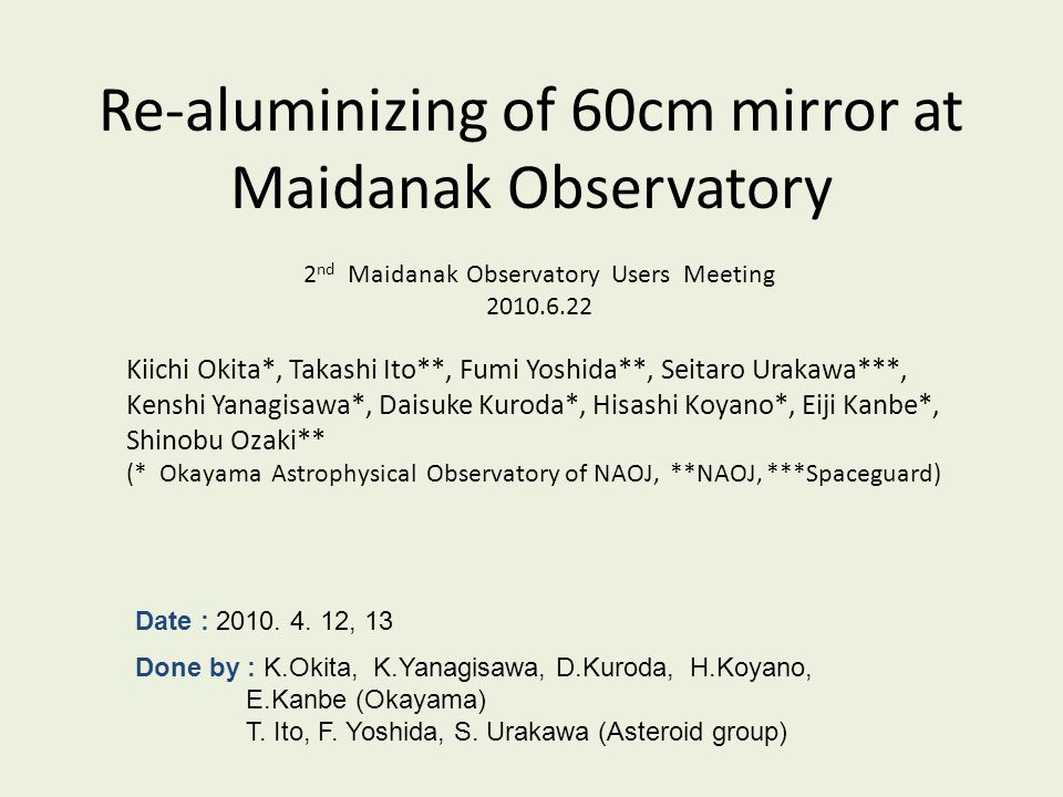 Re-aluminizing of 60cm mirror at Maidanak Observatory Kiichi Okita*, Takashi Ito**, Fumi Yoshida**, Seitaro Urakawa***, Kenshi Yanagisawa*, Daisuke Ku