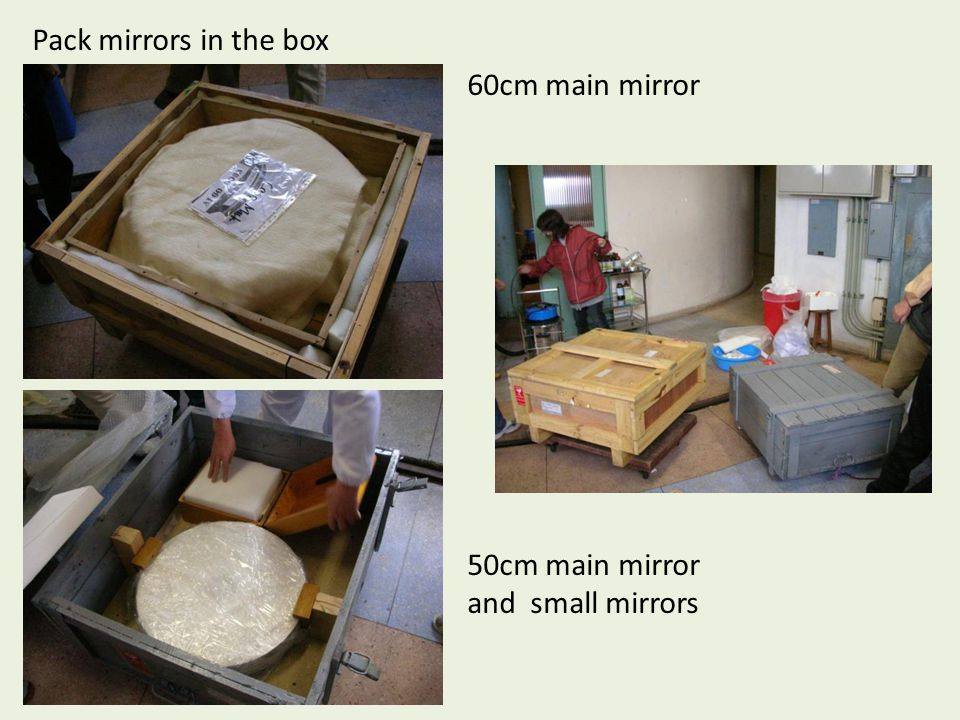 Pack mirrors in the box 60cm main mirror 50cm main mirror and small mirrors