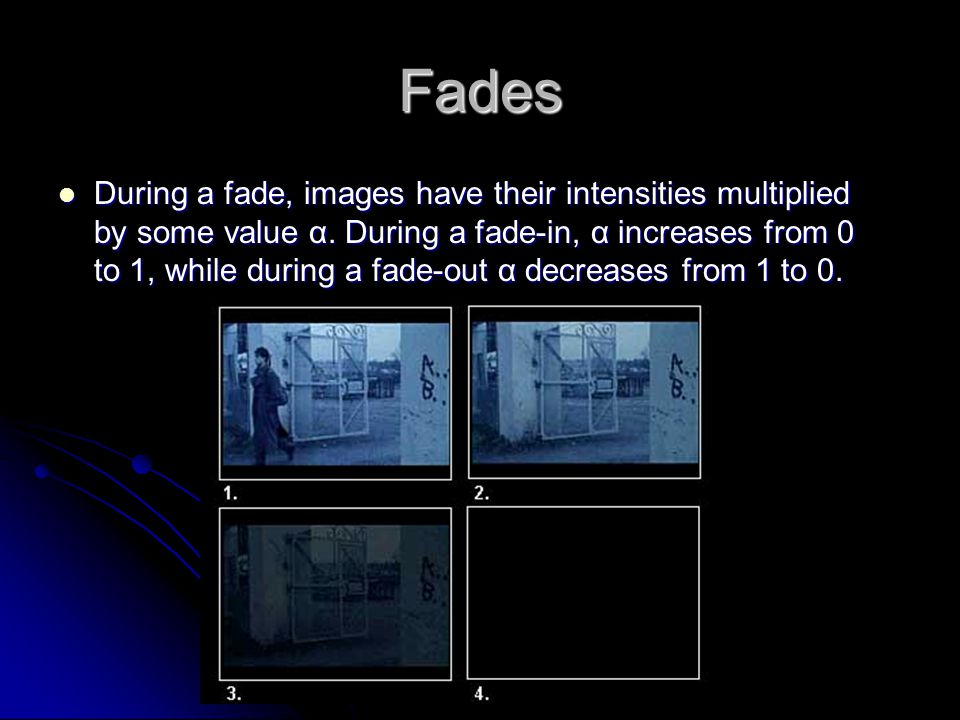 Fades During a fade, images have their intensities multiplied by some value α.