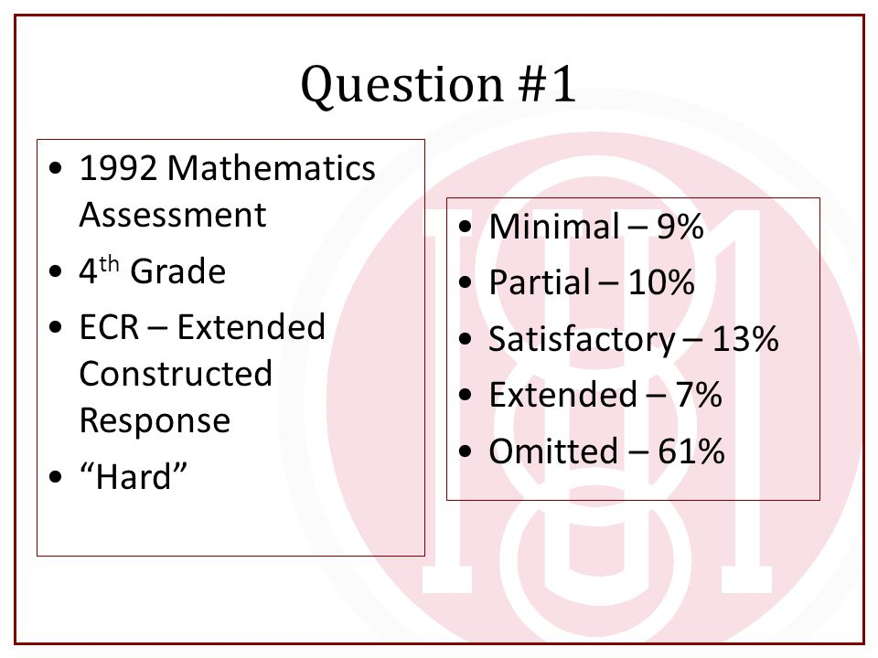 Question #1 Minimal – 9% Partial – 10% Satisfactory – 13% Extended – 7% Omitted – 61% 1992 Mathematics Assessment 4 th Grade ECR – Extended Constructe