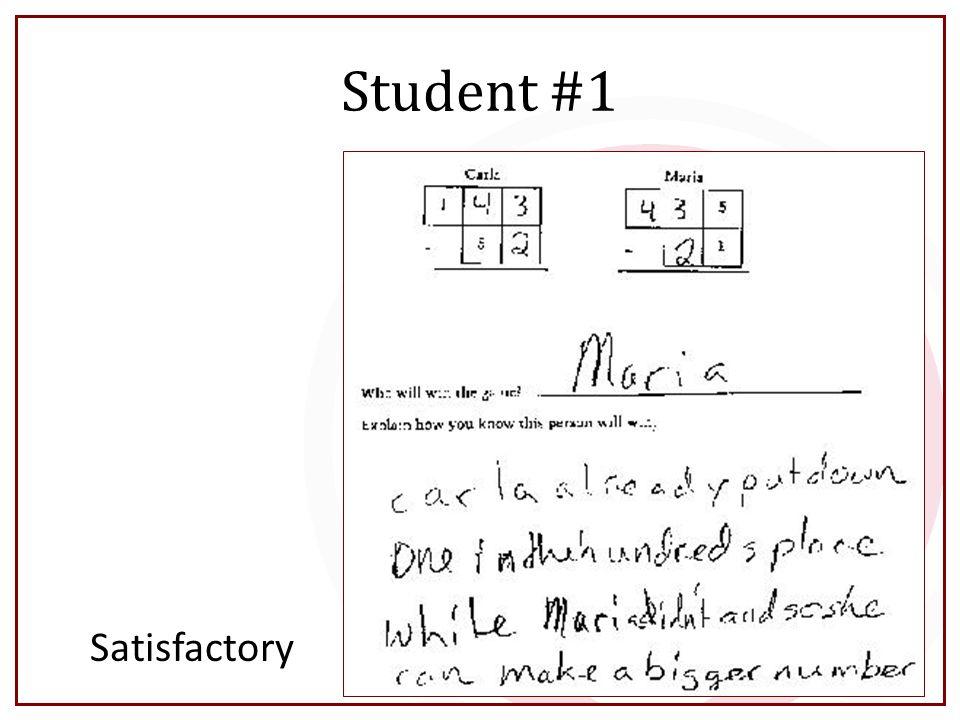 Student #1 Satisfactory