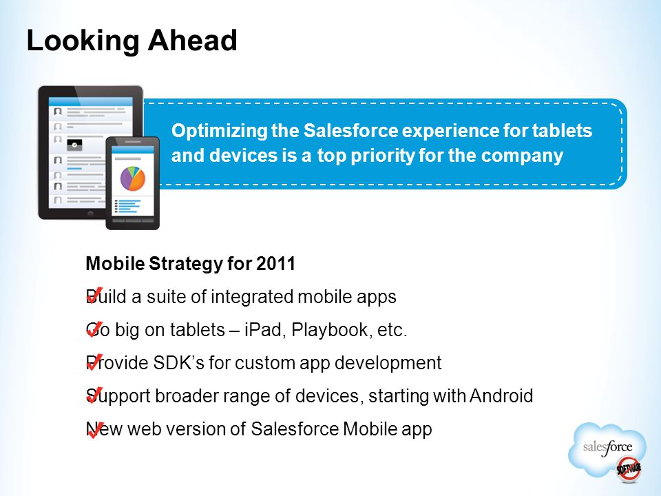 Mobile Strategy for 2011 Build a suite of integrated mobile apps Go big on tablets – iPad, Playbook, etc. Provide SDK's for custom app development Sup