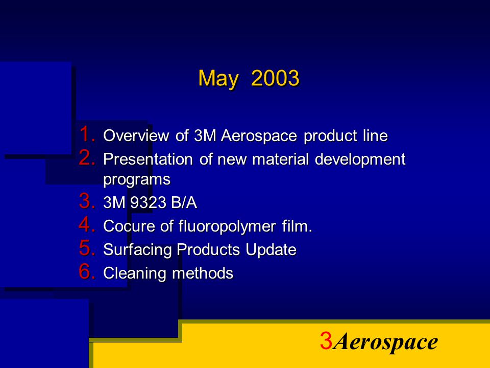 3 Aerospace May 2003 1. Overview of 3M Aerospace product line 2. Presentation of new material development programs 3. 3M 9323 B/A 4. Cocure of fluorop