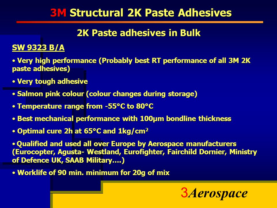 3 Aerospace 3M Structural 2K Paste Adhesives 2K Paste adhesives in Bulk SW 9323 B/A Very high performance (Probably best RT performance of all 3M 2K p