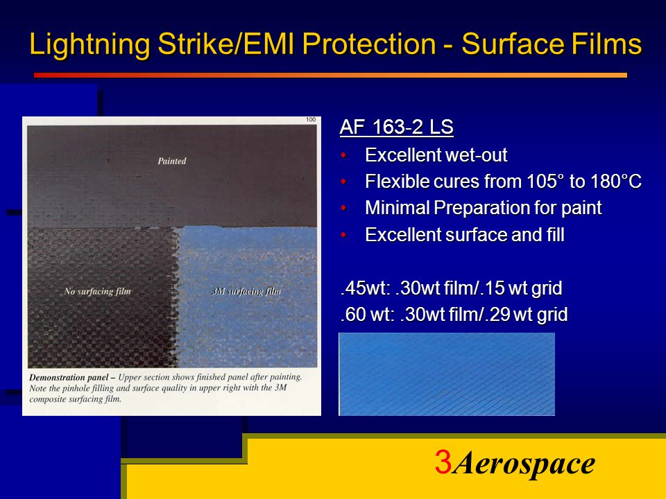 3 Aerospace Lightning Strike/EMI Protection - Surface Films AF 163-2 LS Excellent wet-outExcellent wet-out Flexible cures from 105° to 180°CFlexible c