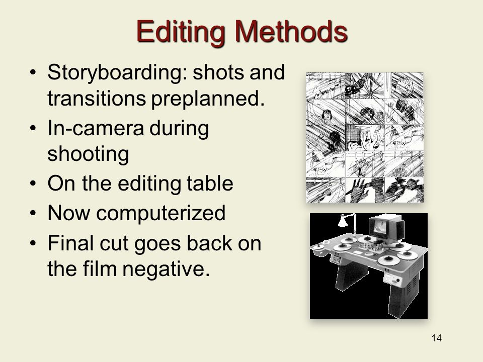 14 Editing Methods Storyboarding: shots and transitions preplanned.