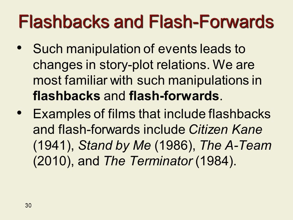 30 Flashbacks and Flash-Forwards Such manipulation of events leads to changes in story-plot relations.