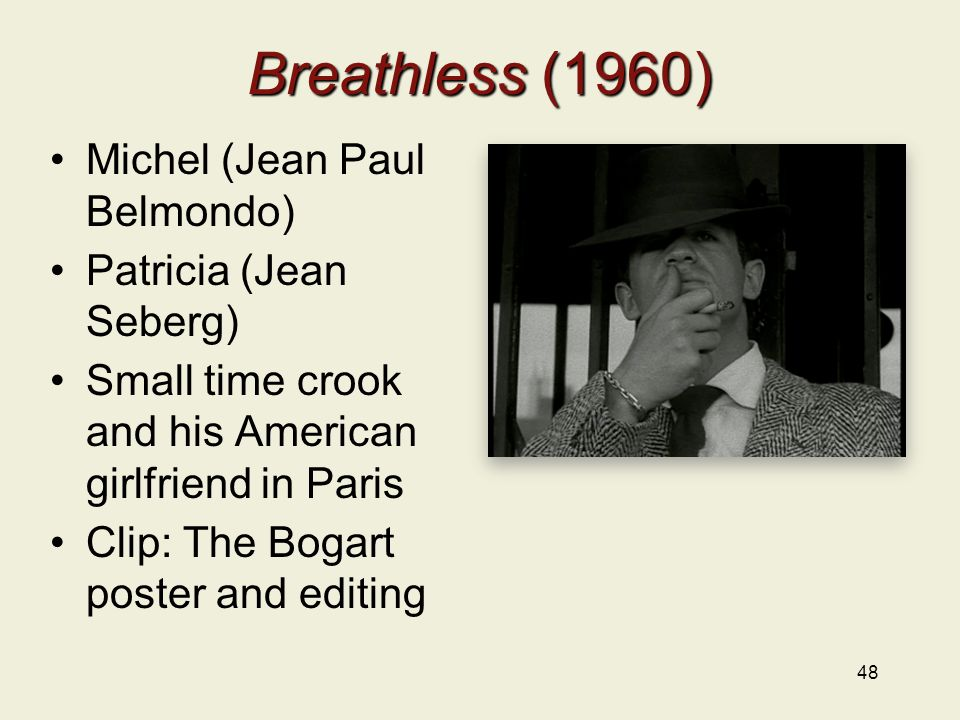 Breathless (1960) Michel (Jean Paul Belmondo) Patricia (Jean Seberg) Small time crook and his American girlfriend in Paris Clip: The Bogart poster and editing 48