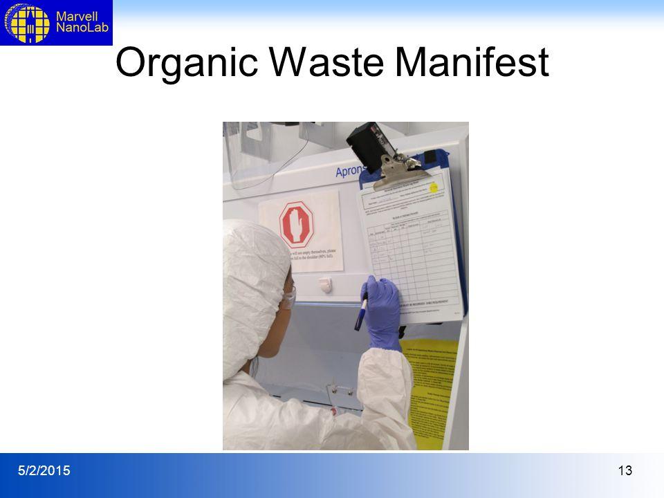 5/2/201513 Organic Waste Manifest