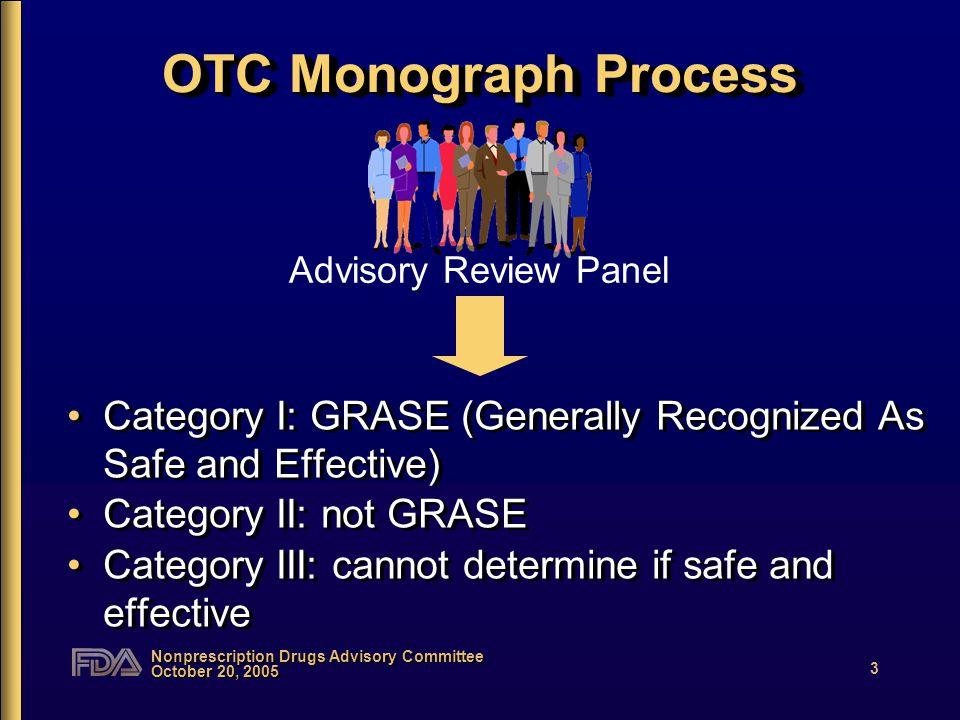 Nonprescription Drugs Advisory Committee October 20, 2005 4 OTC Monograph Process Category I: GRASE Category II: not GRASE Category III: cannot determine if safe and effective Category I: GRASE Category II: not GRASE Category III: cannot determine if safe and effective ANPR