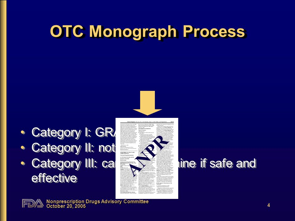 Nonprescription Drugs Advisory Committee October 20, 2005 4 OTC Monograph Process Category I: GRASE Category II: not GRASE Category III: cannot determine if safe and effective Category I: GRASE Category II: not GRASE Category III: cannot determine if safe and effective ANPR