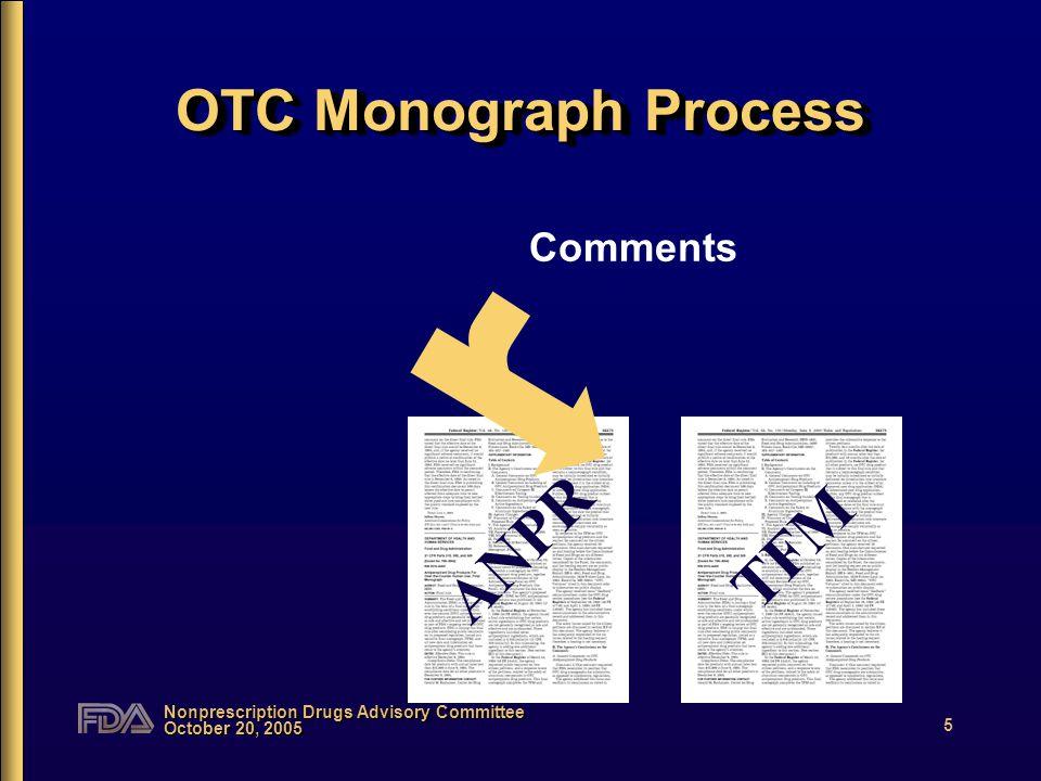 Nonprescription Drugs Advisory Committee October 20, 2005 6 OTC Monograph Process TFM Comments Data FM