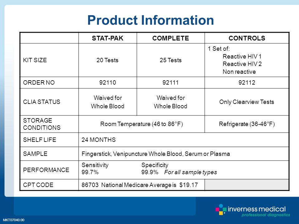 MKT07040.00 STAT-PAKCOMPLETECONTROLS KIT SIZE20 Tests25 Tests 1 Set of: Reactive HIV 1 Reactive HIV 2 Non reactive ORDER NO921109211192112 CLIA STATUS