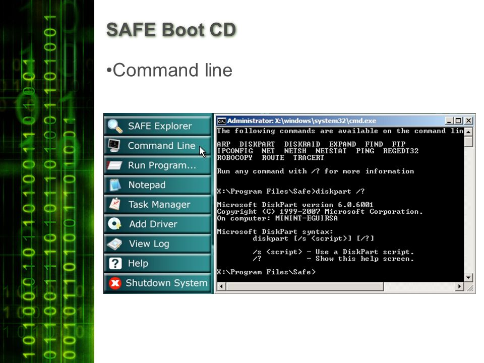 SAFE Boot CD Command line