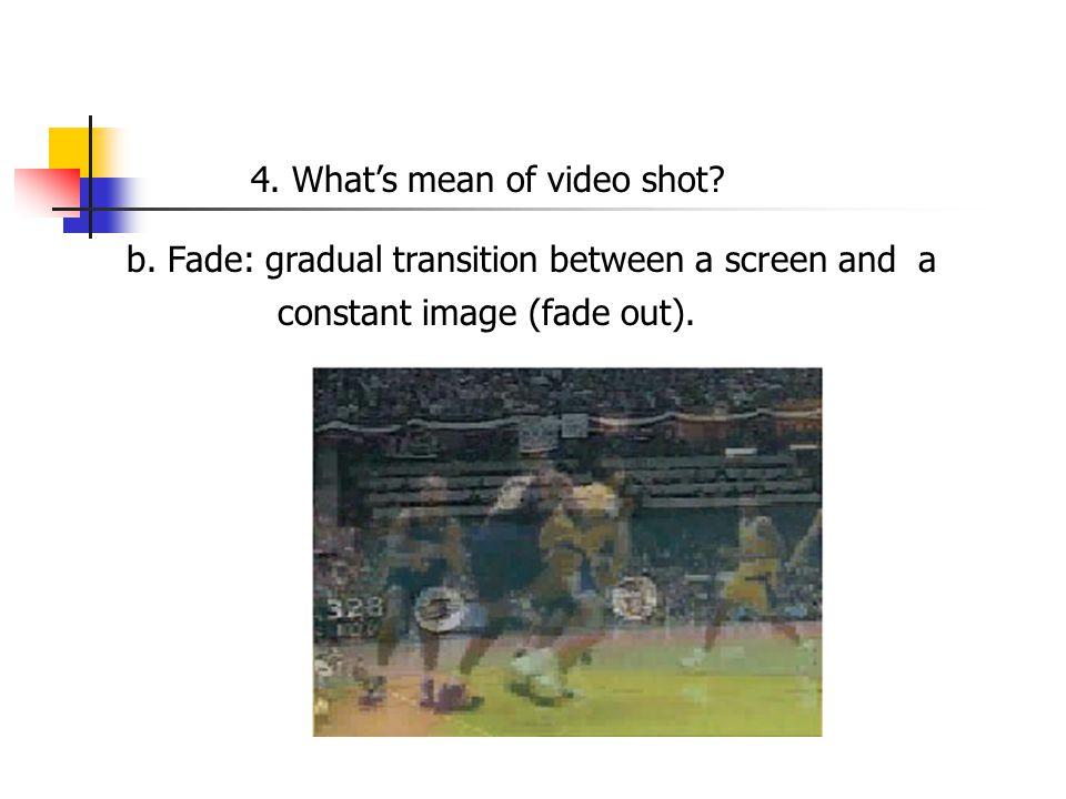 b. Fade: gradual transition between a screen and a 4.