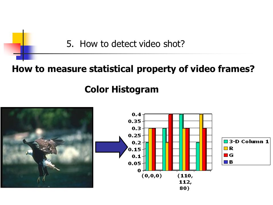 5. How to detect video shot How to measure statistical property of video frames Color Histogram
