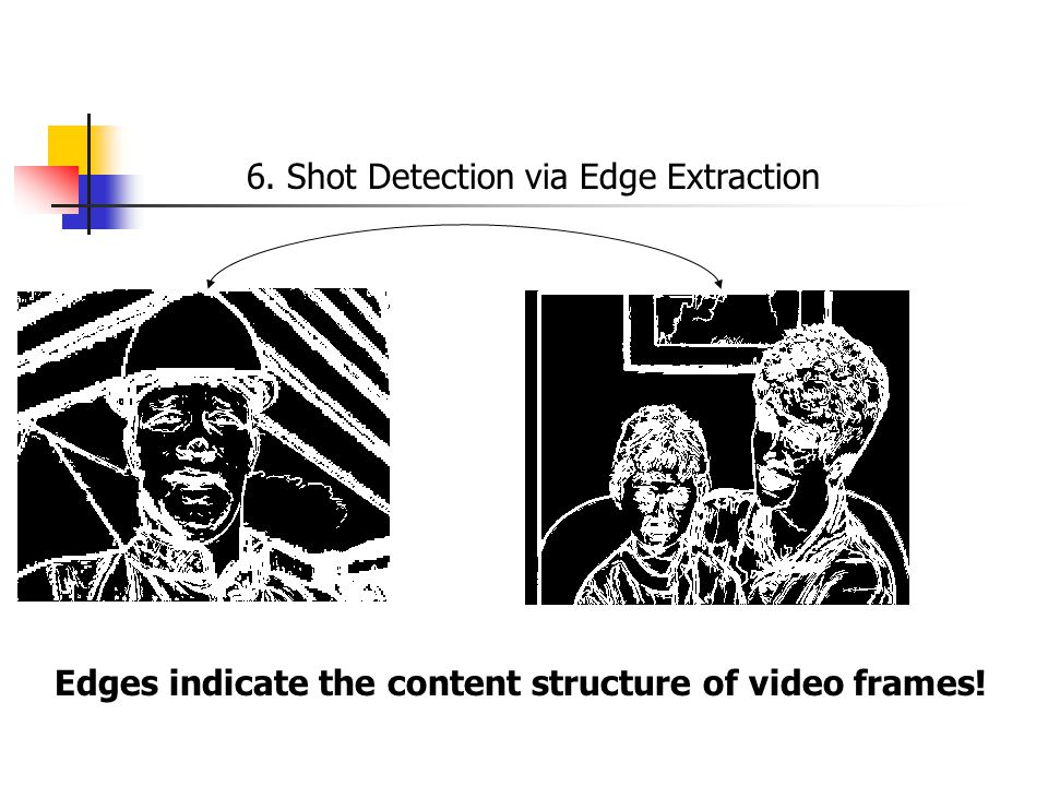 6. Shot Detection via Edge Extraction Edges indicate the content structure of video frames!