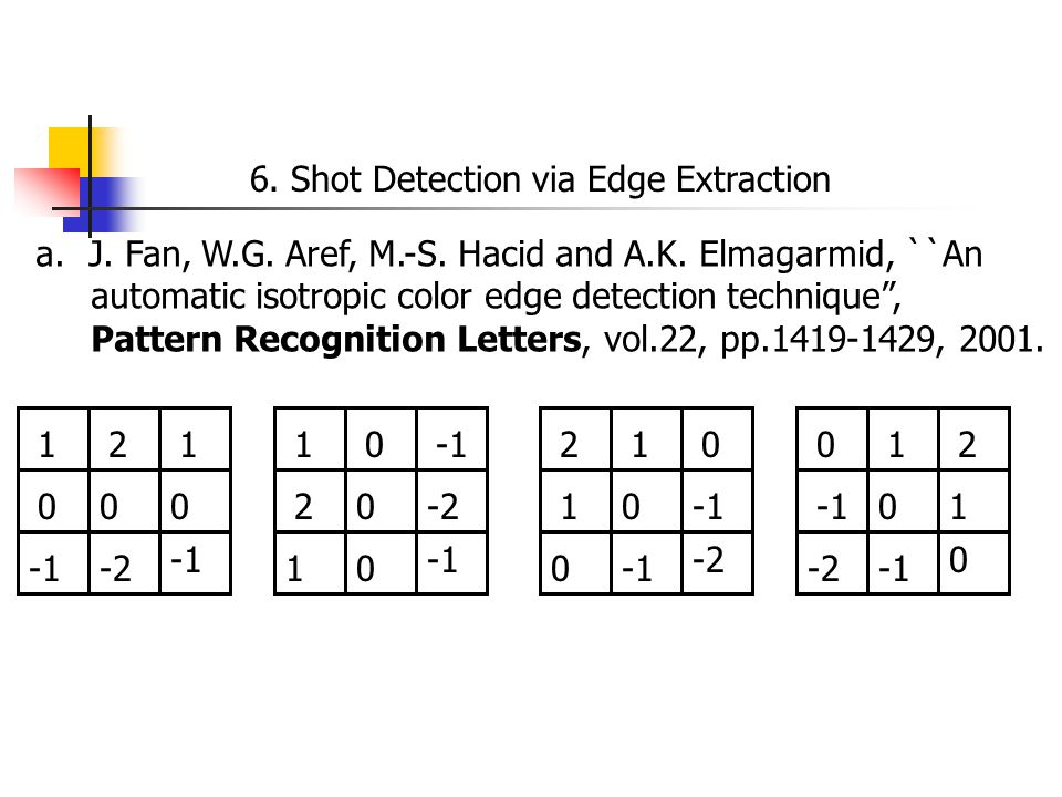 6. Shot Detection via Edge Extraction a.J. Fan, W.G.