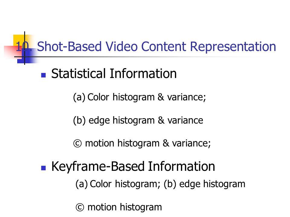 10. Shot-Based Video Content Representation Statistical Information Keyframe-Based Information (a)Color histogram & variance; (b) edge histogram & var