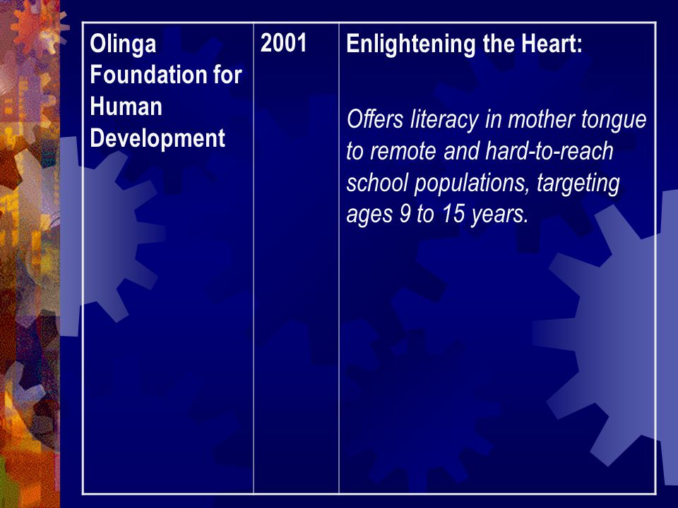 Olinga Foundation for Human Development 2001Enlightening the Heart: Offers literacy in mother tongue to remote and hard-to-reach school populations, targeting ages 9 to 15 years.