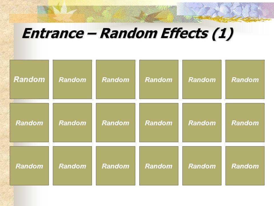 Entrance – Random Effects (1) Random