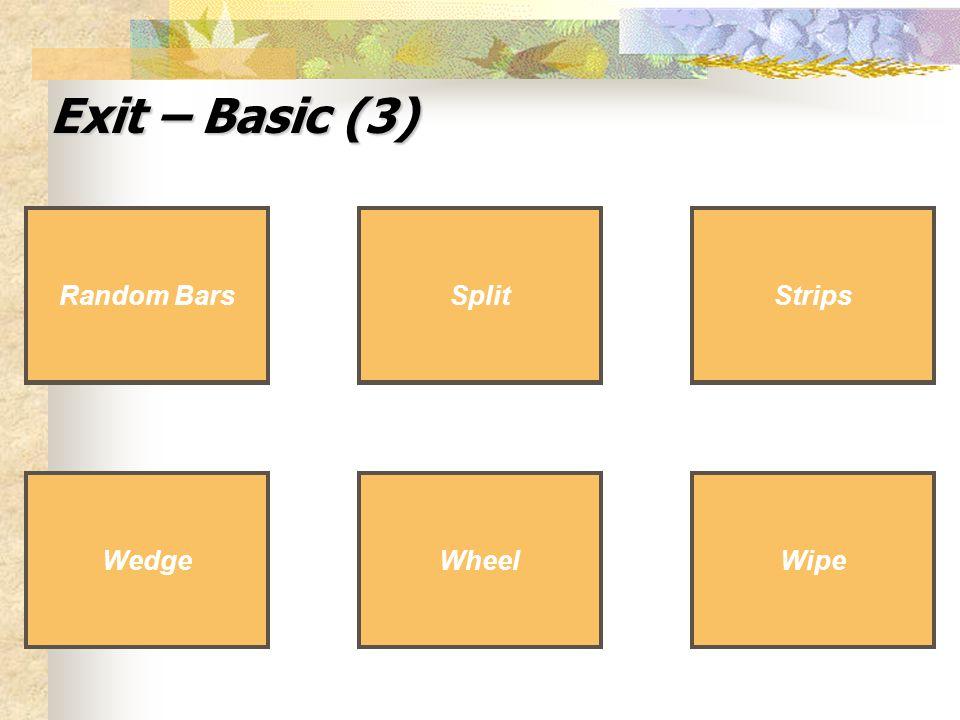 Exit – Basic (3) Wedge Split Wipe Wedge Split Wipe Random Bars Wheel Strips