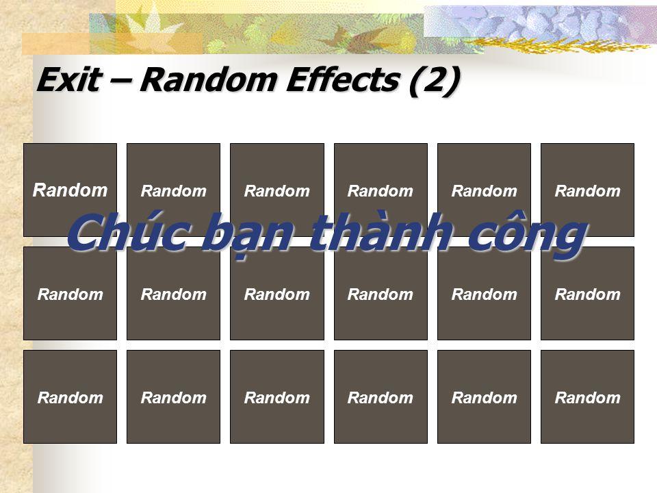 Exit – Random Effects (2) Random Chúc bạn thành công pvphuong2003@sg.netnam.vn
