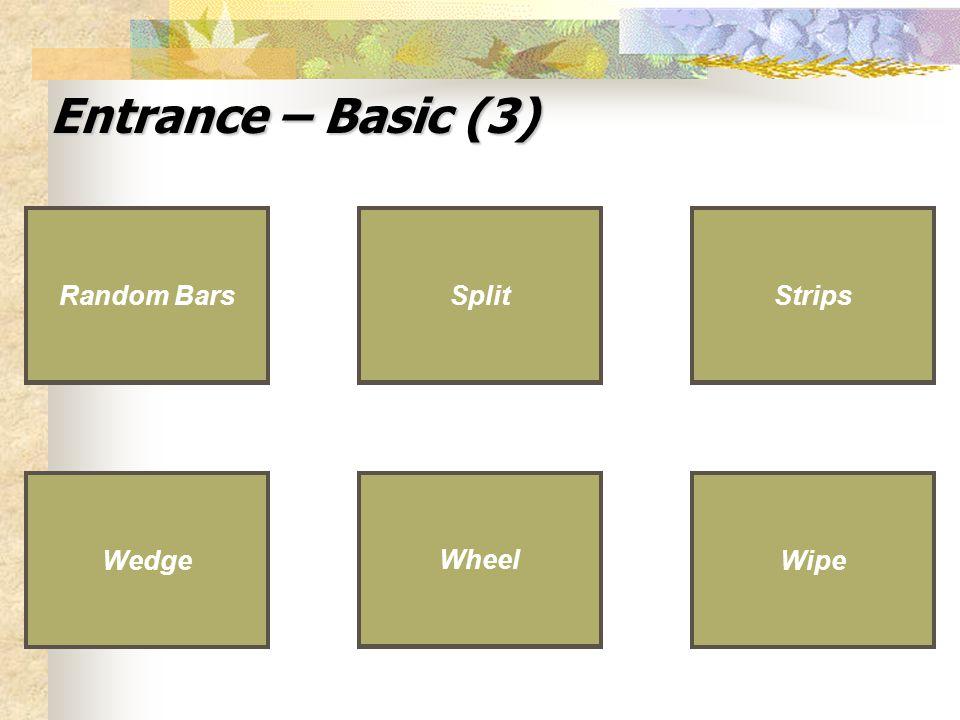 Entrance – Basic (3) Split Wedge Random Bars Strips Wheel Wipe Wheel Wipe