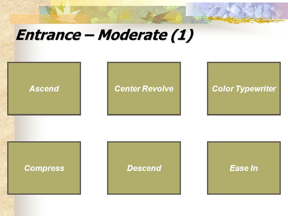 Entrance – Moderate (1) Descend Ease In Compress Center Revolve DescendEase InCompress Center Revolve Ascend Color Typewriter Color Typewriter