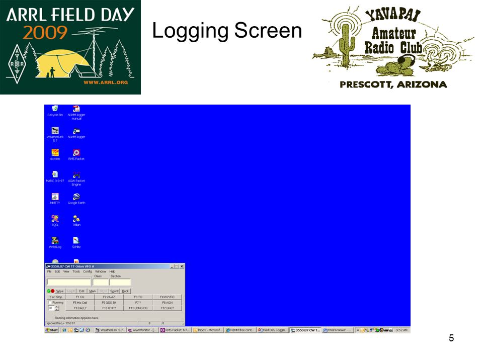 6 Use of the Logging Screen Data Entry 1.