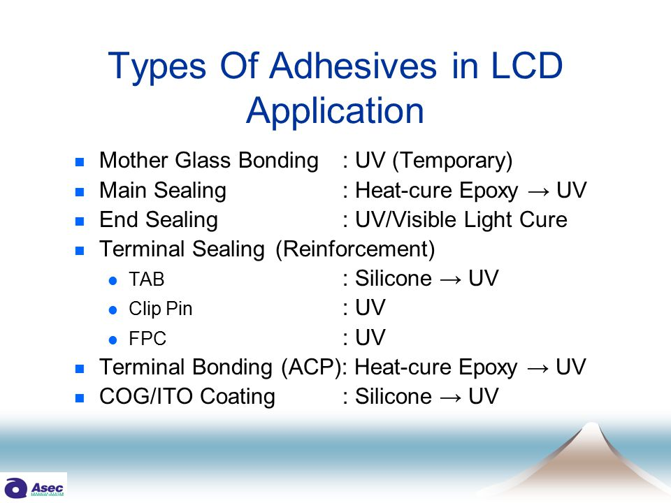 TERMINAL BONDING - 1 Application  FPC to Glass (ITO, Conductive) Process 1) Apply ACP on ITO Terminal Pattern 2) Put FPC on the ITO Terminals 3) UV Light Exposure with Pressing Glass Cu PatternAu coated sphere ITO Pattern FPC ACP