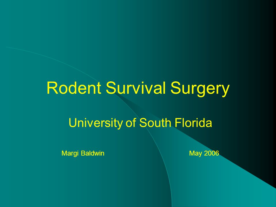 Rodent Survival Surgery University of South Florida Margi Baldwin May 2006