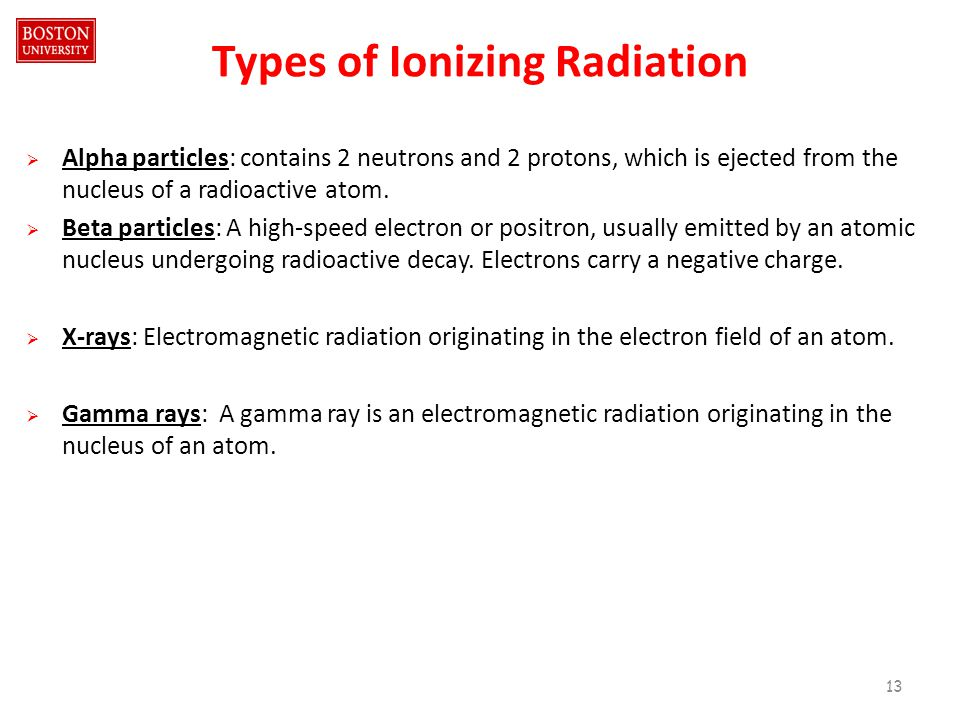 Types of Ionizing Radiation  Alpha particles: contains 2 neutrons and 2 protons, which is ejected from the nucleus of a radioactive atom.