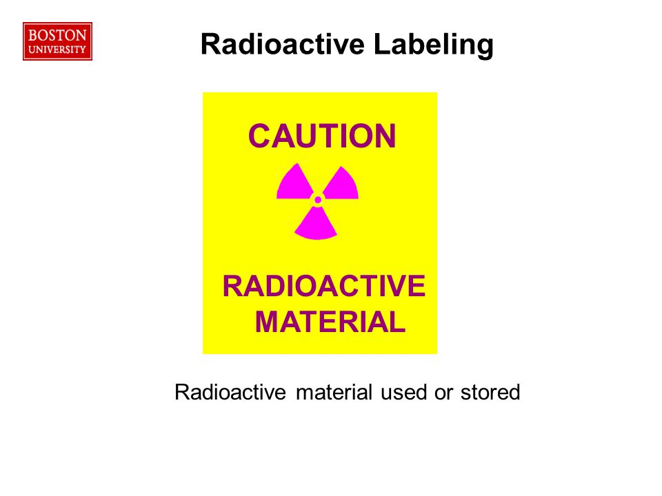 RADIOACTIVE MATERIAL CAUTION Radioactive material used or stored Radioactive Labeling