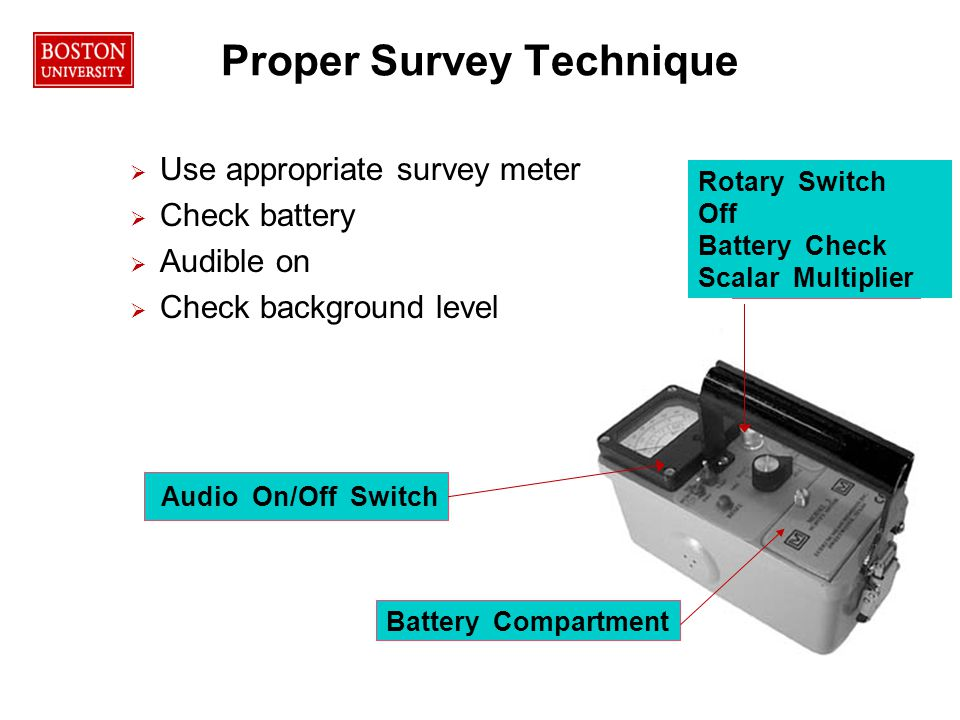 35RPO Proper Survey Technique   Use appropriate survey meter   Check battery   Audible on   Check background level Audio On/Off Switch Rotary Switch Off Battery Check Scalar Multiplier Battery Compartment