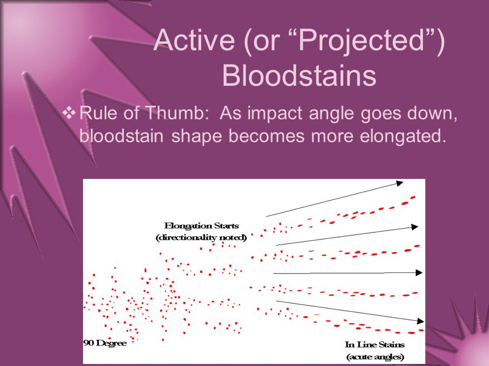 """Active (or """"Projected"""") Bloodstains  Rule of Thumb: As impact angle goes down, bloodstain shape becomes more elongated."""