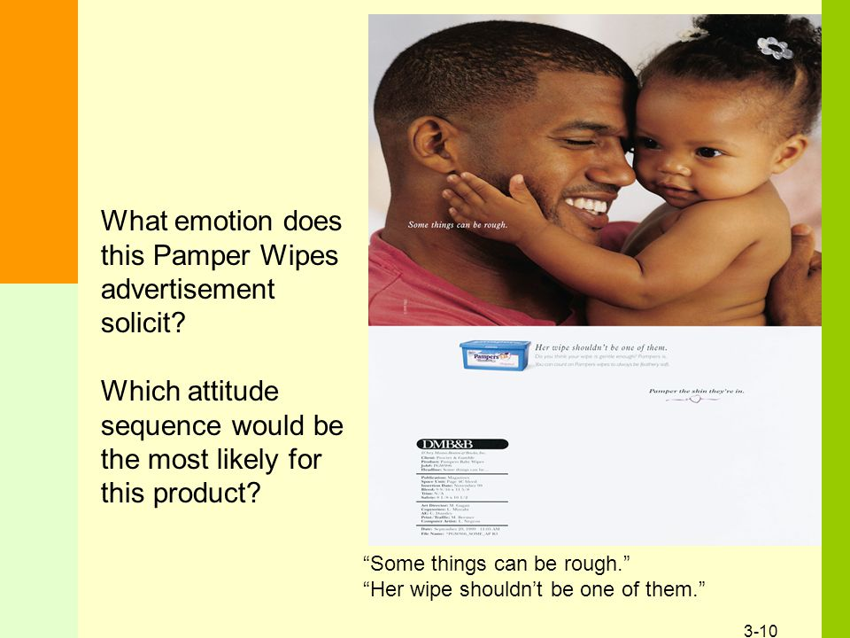 """3-10 What emotion does this Pamper Wipes advertisement solicit? Which attitude sequence would be the most likely for this product? """"Some things can be"""