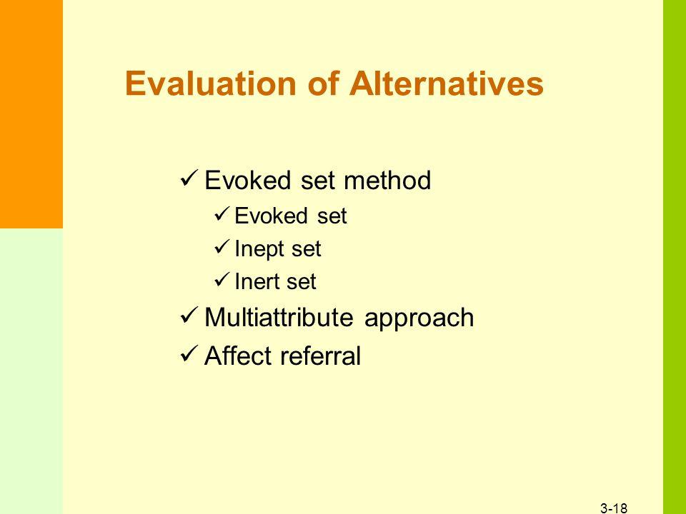 3-18 Evaluation of Alternatives Evoked set method Evoked set Inept set Inert set Multiattribute approach Affect referral