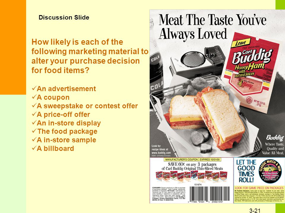 3-21 How likely is each of the following marketing material to alter your purchase decision for food items.