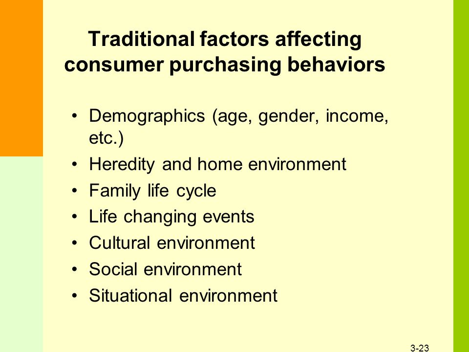 3-23 Traditional factors affecting consumer purchasing behaviors Demographics (age, gender, income, etc.) Heredity and home environment Family life cycle Life changing events Cultural environment Social environment Situational environment
