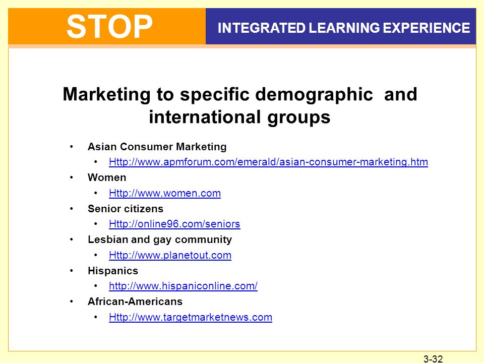 3-32 INTEGRATED LEARNING EXPERIENCE STOP Marketing to specific demographic and international groups Asian Consumer Marketing Http://www.apmforum.com/emerald/asian-consumer-marketing.htm Women Http://www.women.com Senior citizens Http://online96.com/seniors Lesbian and gay community Http://www.planetout.com Hispanics http://www.hispaniconline.com/ African-Americans Http://www.targetmarketnews.com