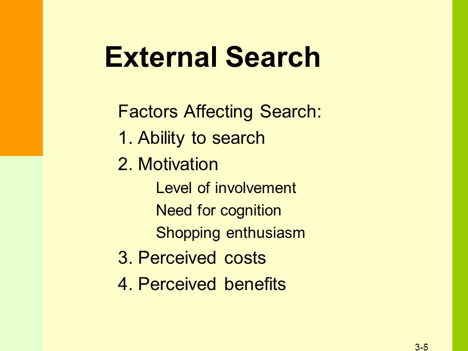 3-5 External Search Factors Affecting Search: 1. Ability to search 2.
