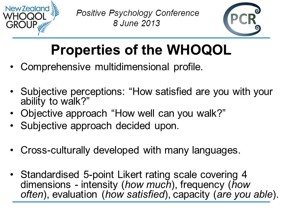 Properties of the WHOQOL Comprehensive multidimensional profile.